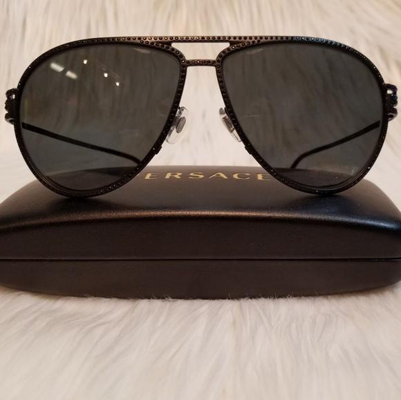 d80f924ed6f9 Versace Sunglasses Black Crystals Frame Aviator
